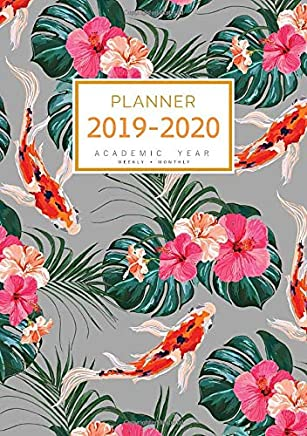 Planner 2019-2020 Academic Year: A5 Weekly and Monthly Organizer from July 2019 to June 2020 | Koi Fish Tropical Leaf Design Gray