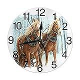 Mailine Reloj de Pared Redondo Caballo de Invierno Reloj de Pared Redondo Silencioso Sin tictac Funciona con Pilas Fácil de Leer Arte Decorativo del Reloj