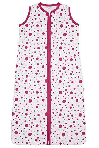 Meyco 410933 Sommer Schlafsack 70cm ungefüttert 100% Baumwolle 0-6 Monate DOTS motiv Bright Pink-Weiß, mehrfarbig