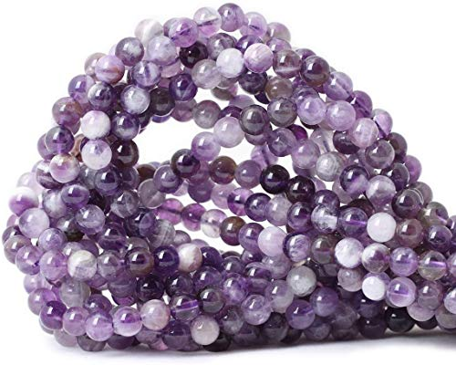 6mm Natural Natural Dog Teeth Amethyst Beads Round Loose Gemstone Energy Healing Power Stones for Jewelry Making Strand 15 Inch (63-66pcs)