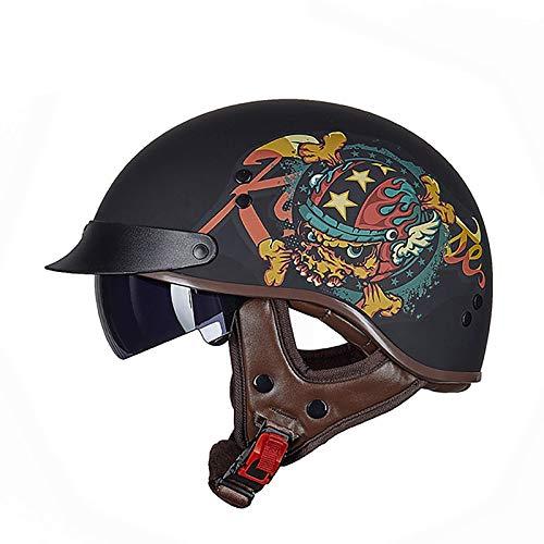 ACEMIC Casco de motocicleta con diseño de calavera, aprobado por DOT, casco retro, para hombre y mujer con visera abatible, para chopper D ciclomotor, L = 57 ~ 58 cm
