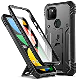 Poetic Revolution Series Case for Google Pixel 5A 5G, Full-Body Rugged Dual-Layer Shockproof Protective Cover with Kickstand and Built-in Screen Protector, Black