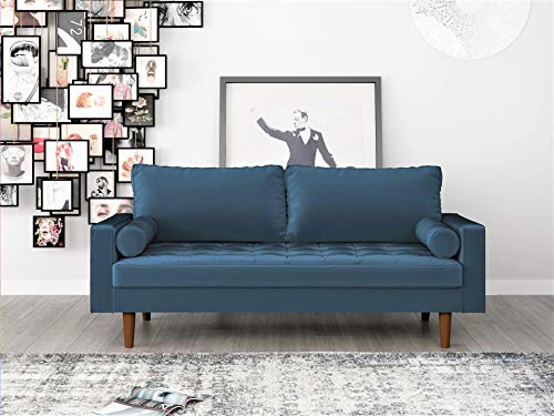 Container Furniture Direct S5456 Mid Century Modern Velvet Upholstered Tufted Living Room Sofa, 69.68', Prussian Blue