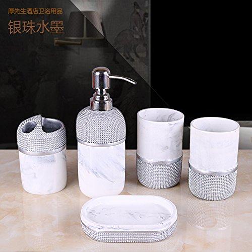 HJKY bathroom accessoires set Continental badkuip 5 stuks badkamer Vanity Kit tandenborstel poetsen de paar schaal schaal spoelen Cup Kit Home, Eun-Joo inkt 5-delige set