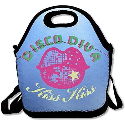 Disco Diva praktische große und dicke Neopren-Lunch-Taschen, isolierte Lunch-Tasche, warme Tasche mit Schultergurt, für Damen, Teenager, Mädchen, Kinder, Erwachsene