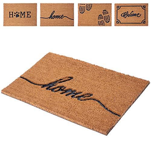 KADAX Fußmatte aus Kokosfaser und Gummi, 60 x 40 cm, Kokosmatte, Fußabtreter für Innen und Aussen, Schmutzfangmatte für Haustür, Hauseingang, Sauberlaufmatte, Türvorleger (Home)