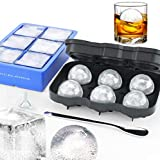 Sphere Ice Ball Mold,Large Square Ice Cube Mold,Whiskey Ice Ball Ice Cube Trays Maker,Big Cocktail Ice Cube Molds for Whiskey,Silicone Ice Cube Tray Set,Include 2 Molds & Whiskey Stirrer & Funnel
