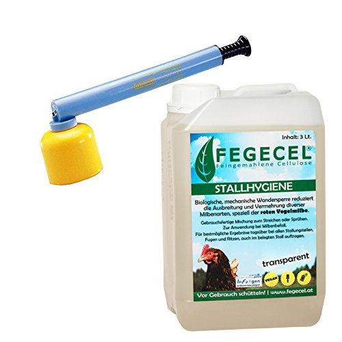 Fegecel Stallhygiene 3L Set, bei Milben, inkl. 1 STK. Gloria Feinzerstäuber Typ 208, biologisches Mittel zur Reduzierung der Vermehrung und Ausbreitung div. Milbenarten, speziell der roten Vogelmilbe