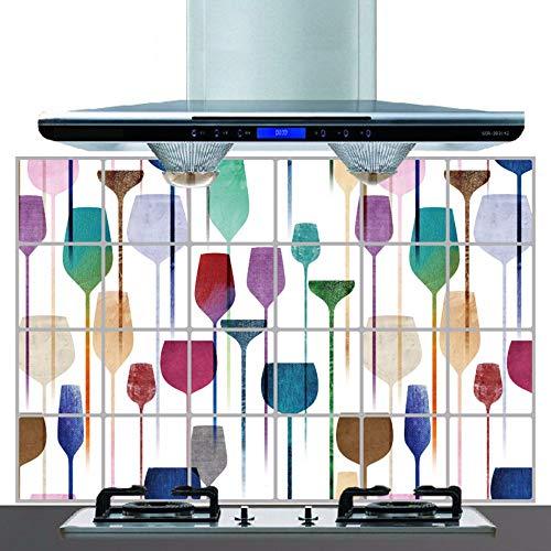 Muurstickers, 60 cm, x 90 cm, 24 x 36 cm, in olie voor de keuken, ter bescherming van de glazen, kleurrijk, wandstickers, zelfklevend, dakpannen, knutselen, decoratie