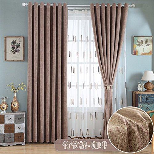 QPGGP- Curtain Rideaux Rideau Coton Salon Fenêtre Écologique Moderne Les Fils Simples Épaississement des Tissus,D,200 x 270 CM (W x H) x 2