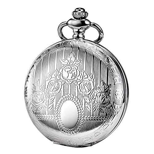 TREEWETO Unisex Taschenuhr mit Kette Analog Handaufzug Skelett Römische Ziffern Silber
