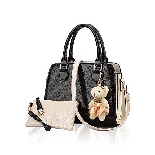 Tisdaini® Damenhandtaschen Mode Schultertaschen Set 2 Stuck Shopper Umhängetaschen Brieftasche Schwarz