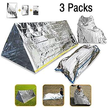 Couverture de survie d'urgence Wady 3en 1 - En mylar, étanche, réfléchissant la chaleur - Tente - Sac de couchage - Couverture - Kit de survie pour le camping, la randonnée