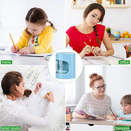 Electric Pencil Sharpener, USB/Battery Dual Power Mode, Heavy-duty Helical Blade to Fast Sharpen, Auto Stop for No.2/Colored Pencils(6-8mm), Suitable for Kids, Teachers, Classroom, Office (blue) Photo #6