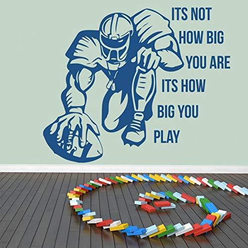 haochenli188 Abnehmbare Zitate Wandkunst Aufkleber Wie groß Sie Spielen American Football Schlafzimmer Vinyl Sport Wandtattoos Wandbild Kinderzimmer Deko 96x80cm