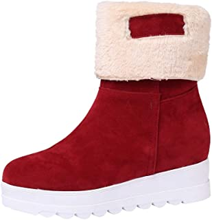HYIRI Classic Winter Keep Warm Slip-On Shoes,Women Suede Round Toe Wedges Shoes Plush Snow Boots