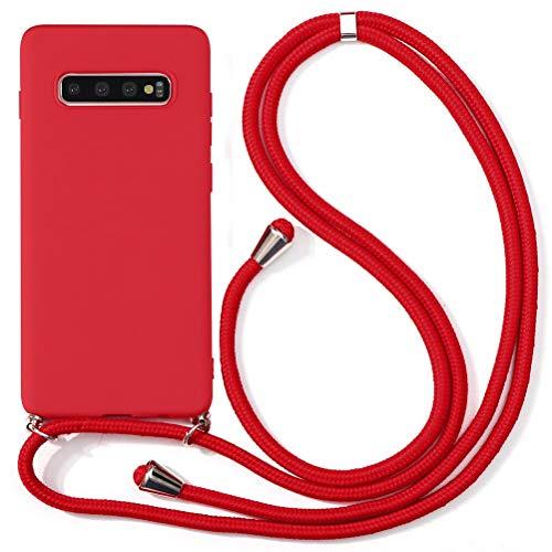 """ZhuoFan Funda con Cuerda para Samsung Galaxy A70 Funda [6.7""""] Rojo Carcasa de Silicona Suave Case con Colgante Cordon Colgar Correa de Cuello Antichoque Bumper Cover para Samsung A70"""