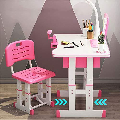 Kacsoo Juego de sillas de Escritorio, Juego de sillas de Escritorio para niños, Ajustable en Altura, para niños, Escuela, Estudio en casa, Mesa de Trabajo, estación de Trabajo con lámpara (Rosado)