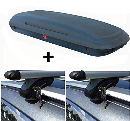 VDP VDP-CA480 Dachbox 480 Liter Carbon Look abschließbar + Alu Relingträger XL135 kompatibel mit VW Touareg 7P5 ab 10 bis abschließbar