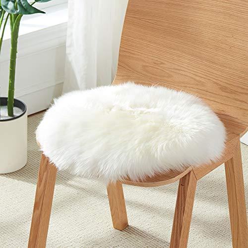 YOH Premium Soft Round Faux Fur Sheepskin Seat Cushion Chair Cover Plush Area Rugs for Bedroom Girls Room Makeup Desk Home Decor Mats - Diameter 1.6 Feet, White