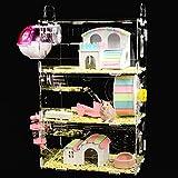 NXL Jaula De Hámster De Acrílico Juguete De Hámster Jaula De Jaula De Hámster Transparente De Tres Pisos Villa Adecuado para Mascotas Pequeñas como Hamsters