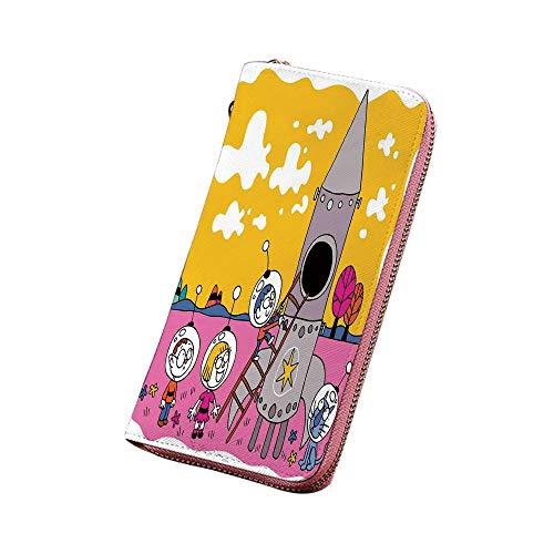 漫画 PU長財布 ロケット宇宙船の子供時代の夢の楽しい宇宙飛行士とヒーロー宇宙飛行士の子供たち シグネチャー メンズ 黄色のフクシア