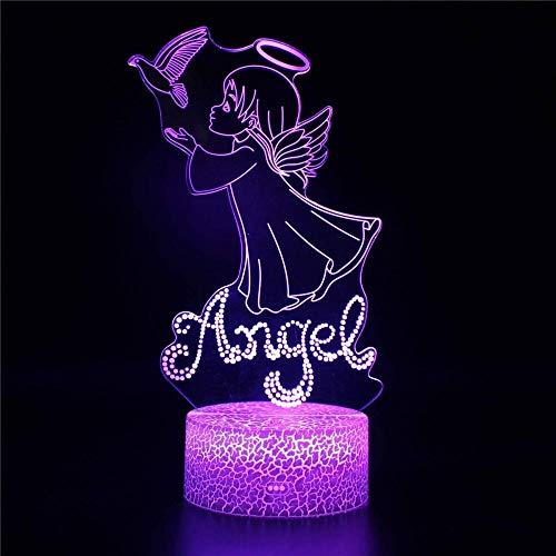 A-Generic LED 3D LED - Ilusión 3D - Leyendas Creativas - Regalos de cumpleaños para Hombre y Amigos - Control Remoto 16 Cambiando Colores-Ángel A.