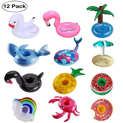 FOMAN Inflatable Drink Holder 12 Pack, Floats Inflatable Cup Coasters for Summer Pool Party and Kids Fun Bath Toys (Newest Type Mermaid and Whale)