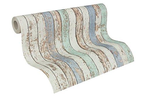 A.S. Création Vliestapete Dekora Natur Tapete in Vintage Holz Optik 10,05 m x 0,53 m blau braun weiß Made in Germany 959141 95914-1