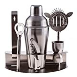Cocktail Shaker- Mixed Drinks Set Martini Mixer with Bottle Opener Jigger Shot Glass Strainer