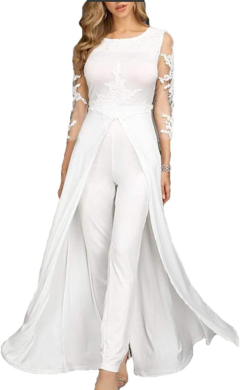 CY Women's 2021 Engagement Formal Wedding Dress Long Sleeve Floor Length Chiffon Overskirt