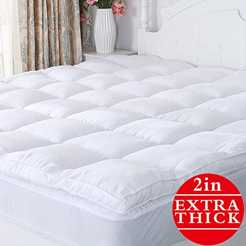 Naluka Mattress Topper Queen Size Pillowtop Mattress Cover Luxury Microfiber Down Alternative Mattress Pad 2 Inch Thick(60''x80''