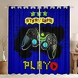 Gamer - Cortinas de videojuegos, consola de videojuegos, 3D, diseño de joystick para dormitorio, diseño de graffiti de Hip Hop con ojales en la parte superior de 2 paneles, 46 x 54 L
