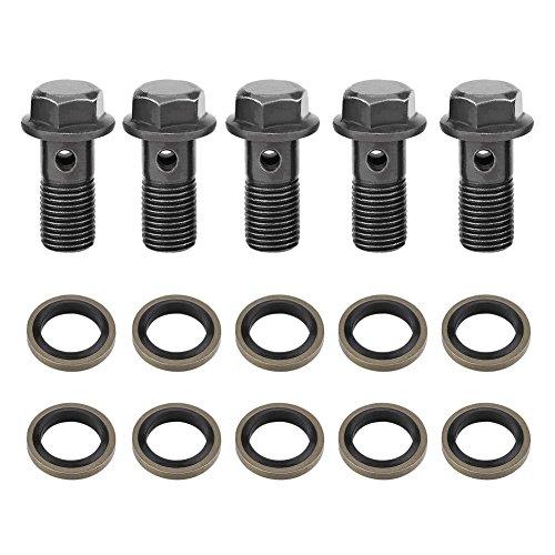 5 Stück Brems-Hohlschraube, Motorrad-Hohlschrauben für Bremssattel-Hauptbremszylinder & 10 Stück Hohlscheiben(M10×1.25mm)