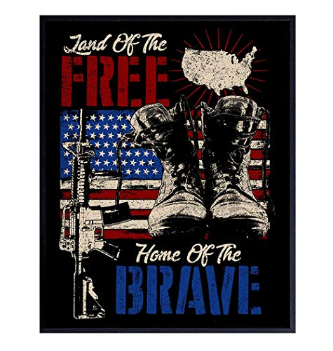 Patriotic Wall Decor - Military Gifts - American Flag Wall Art Home Decor, Room Decoration - Gift for Soldiers, Veterans, Army, Air Force, USMC, Marines, Navy, Coast Guard, Vets, Men, Women