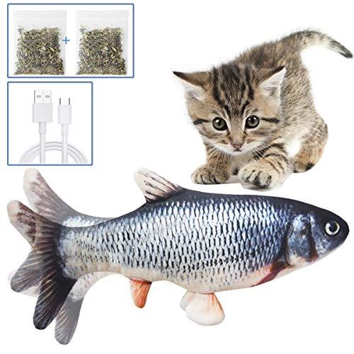 Juguetes Eléctricos para Peces Catnip, 30CM Electrico Recargable USB Juguetes Simulación Realista de Felpa Pez eléctrica, Suministros Interactivos Divertidos para Masticar Mascotas para Gato Gatito ⭐