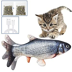 Juguetes Eléctricos para Peces Catnip, 30CM Electrico Recargable USB Juguetes Simulación Realista de Felpa Pez eléctrica, Suministros Interactivos Divertidos para Masticar Mascotas para Gato Gatito