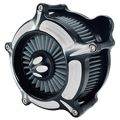 Luftfilter Harley Motorrad Turbine Air Cleaner Intake Filter Kit Cnc Cut Chrome für Touring 2017 - 2018 Softail 2018 Road King 2017 - 2018 Einbau- Design D-grau