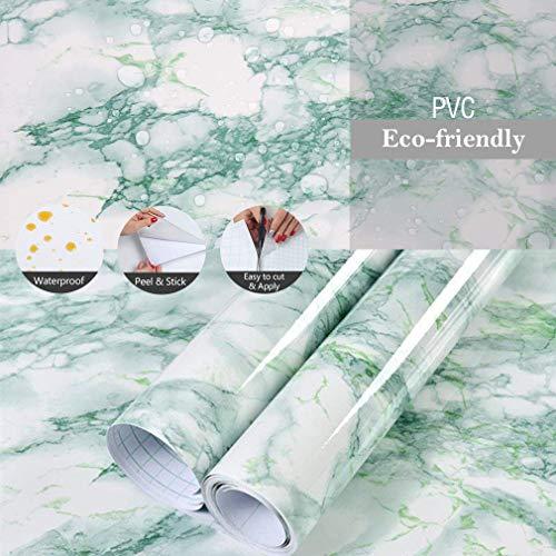 JiuFei Papel Adhesivo Mármol para Muebles 60x200cm, Espesar Duradero Vinilo Película Prueba de Aceite Impermeable Papel Pared para la Cocina Encimera Oficina de Baño
