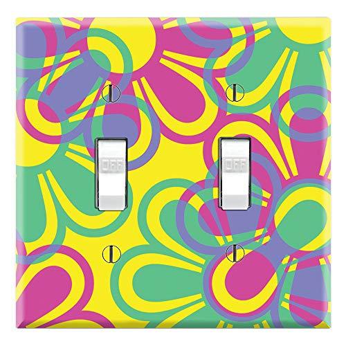Placas de pared gráficas, diseño de flores retro, interruptor eléctrico/GFCI/enchufe, cubierta de la placa de pared
