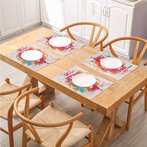 Stain Resistant Anti-Skid Washable Table Mats Placemats, Quote Summer Holidays Best Tour Lettering with Palm Tree Island Rainbow Colored Im, Suitable For Home Kitchen Decoration, Set Of 8