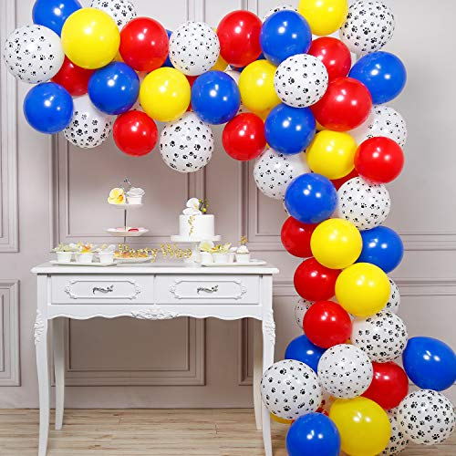 PartyWoo Paw Patrol Balloons, 70 pcs 12 inch Blue Red Yellow balloons, Paw Print Balloons, Paw Balloons for Paw Patrol Party Decorations, Toy Story Party Decorations, Paw Patrol Birthday, Dog Birthday