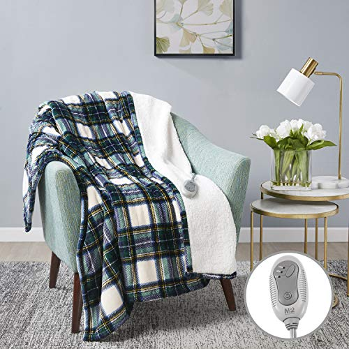 """MP2 Heated Sherpa Throw Blanket Electric Lap Blanket 50"""" x 60"""" with 3 Heating Levels 2 Hours Auto Off for Home and Office Use Machine Washable UL Certified, EMF Radiation Safe, Blue/Green/Yellow Plaid"""
