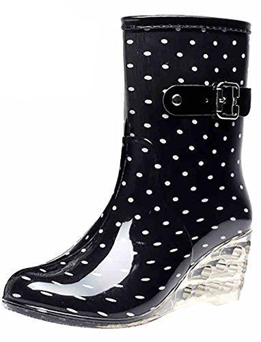 Odema Women's Mid Calf Rain Boots Buckle Side Zipper Wedge High Heel Waterproof Shoes Snow Wellies Bootie