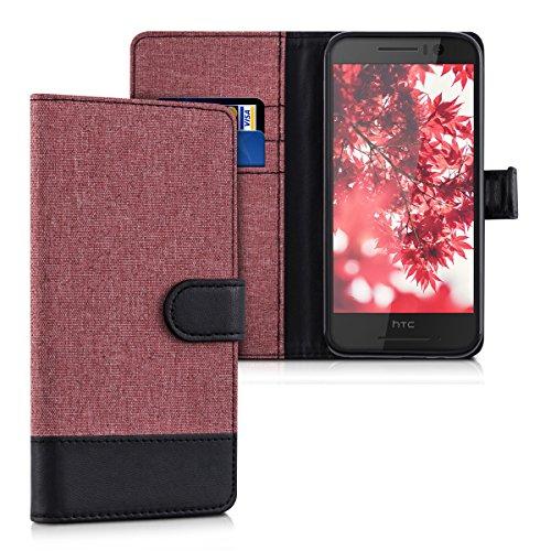 kwmobile HTC One S9 Hülle - Kunstleder Wallet Case für HTC One S9 mit Kartenfächern & Stand - Altrosa Schwarz