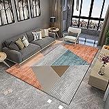 Alfombra De Impresión Digital Geométrica Simple Alfombra Gruesa Impermeable Antideslizante Lavable Alfombra Rectangular Adecuada para Dormitorio Sala De Estar Hotel