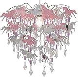 Pantalla Unicornio para Dormitorio Niñas Rosa Púrpura y Plata con Pendientes