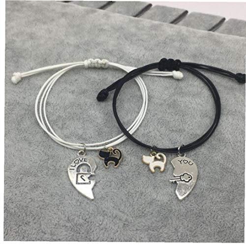 BYFRI Paar Armband Stitching Hart Armbanden Vrouwen Leuke Kat Hanger Romantisch cadeau voor Liefhebbers
