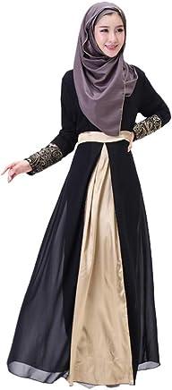 Vestido largo para mujer, casual, delgado, maxi vestido de dama Dubai con parches Islam Abaya, ropa musulmana de verano, bata de manga larga, Negro, L