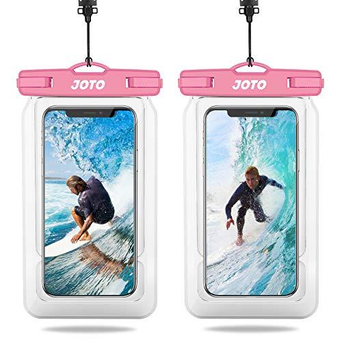 JOTO 2uds. Bolsa Impermeable Flotante Universal, IPX8 Funda Impermeable para iPhone 12 Pro MAX XS MAX XR X 8 7 Plus, Galaxy S20 Ultra S10 Plus S9, Note 10 9 para Piscina Playa Natación -Rosa